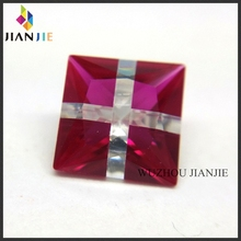Factory Wholesale Price Ruby Corundum and White CZ Cross Synthetic Gem Square Cubic Zirconia Stone