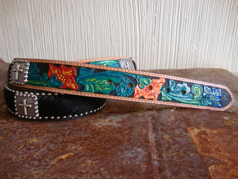 Hand Tooled and Painted Leather Belt
