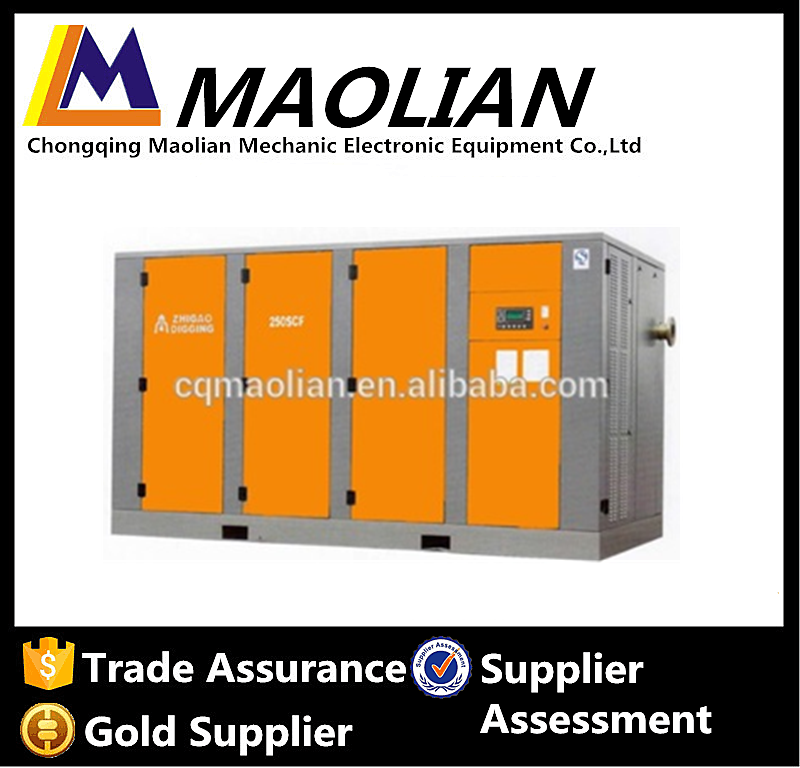 250KW industrial stationary electric rotary screw type silent air compressor for sale