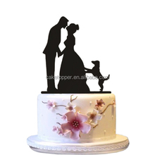 Romantic bride and groom shaped recycle acrylic cake topper for wedding/happy birthday fancy design cake topper with toothpick