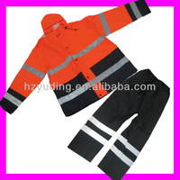 High quality orange heavy rubber raincoat with reflective patches