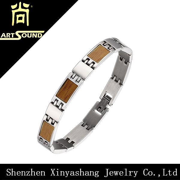 China factory wholesale wood inlay silver bracelets men bracelet