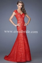 Sexy Plunging Neck-line See Through Back Mermaid Red Lace Prom/Evening Dress Patterns Vestidos De Fiesta 2015