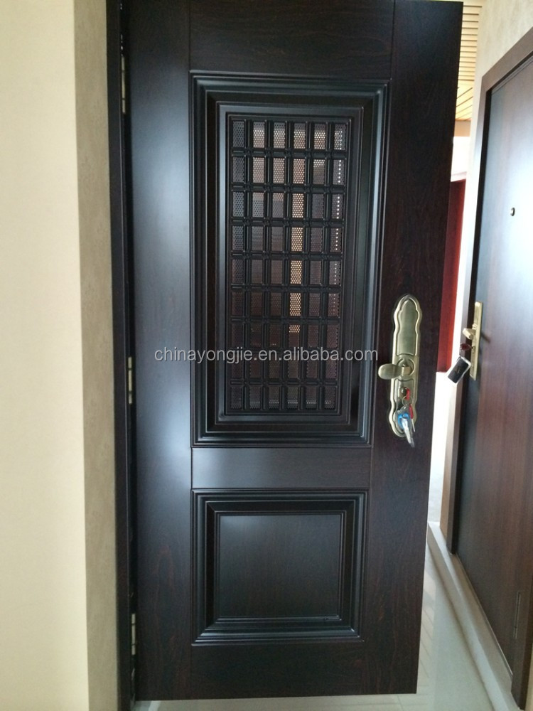 Steel high quality apartment exterior entry door with for Entry door with window that opens