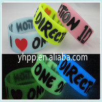 I Love One Direction 1D GLOW IN THE DARK silicone 3colours wristband bracelet