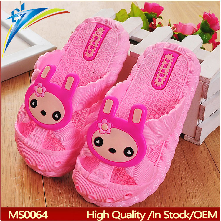 2017 Cute children Unisex pvc Plastic Shoe Cartoon Pig Children Beach Slippers Non-slip Slippers Kids