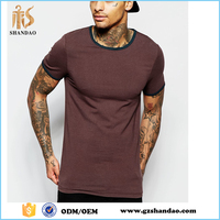 2016 Guangzhou shandao summer casual plain dyed men tight fit stretch short sleeve crew neck jersey super soft cotton t-shirts
