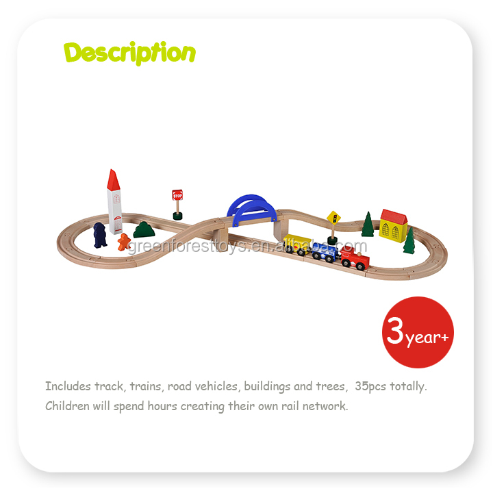 35 pc Tracks & Accessories Magnetic Train Cars for Kids Classic Wooden Toy Train Set