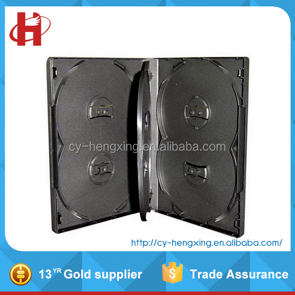 Plastic black 6discs dvd case with one inner tray