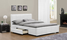 White PU leather storage bed