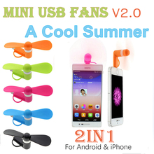 Factory 2 in 1 for Android for iPhone Micro Mobile phone Fan Portable Mini Fan mini usb fan for phone