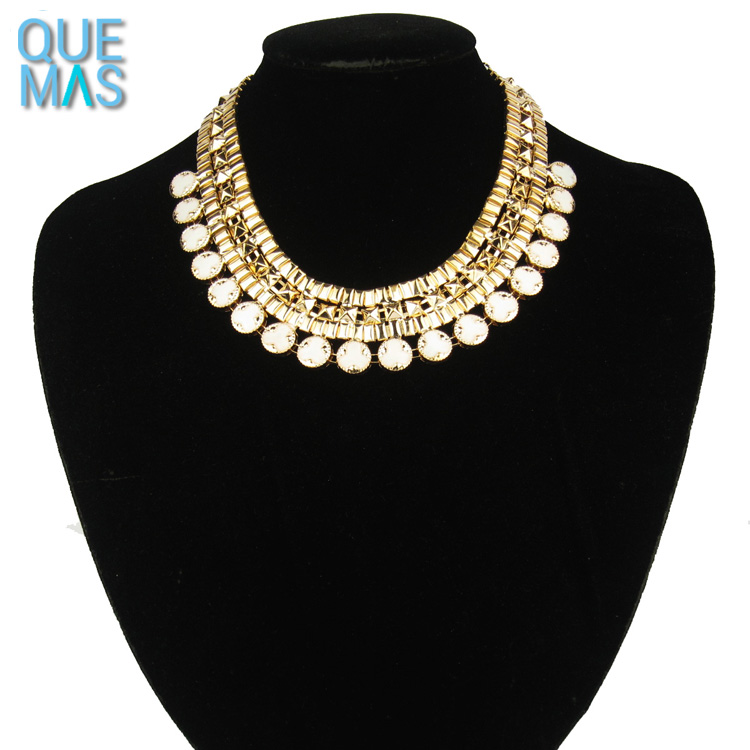 New design alloy crochet necklace epoxy gold necklaces fancy jewelry wholesale cubic zirconia jewelry