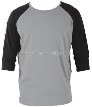 100% Pima Cotton Men T,Shirt , Raglan 3/4 Sleeve