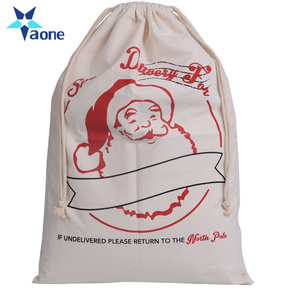 2017 New Design Santa Deer Cotton Cheap Custom Christmas Sack Drawstring Bag Wholesale