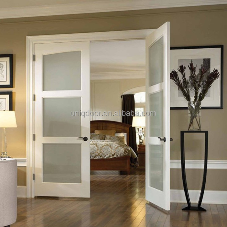 3 panel french doors modern privacy glass panel interior bedroom door manufacturer