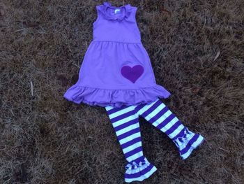 2015 new baby girls purple lavender baby ruffle outfits Valentine top set outfits set