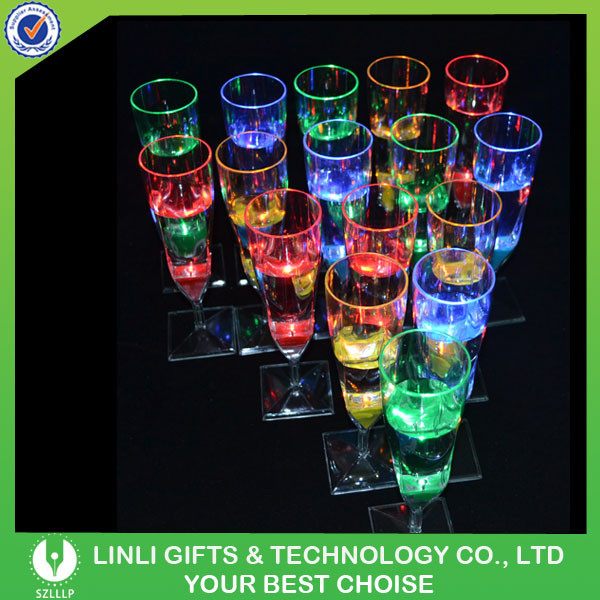 Customized Fashionable LED Flashing Holiday Champagne Glass, Colorful Light Party Up Holiday Champagne Glass With LED