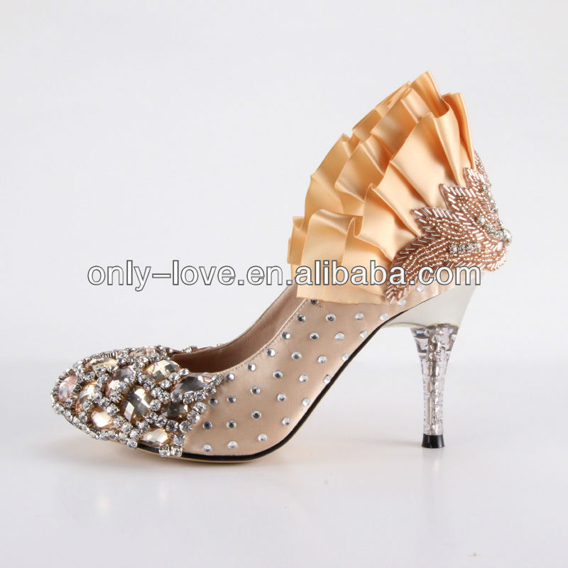BS654 custom make large size 8cm champagne crystal wedding shoes bridal shoes