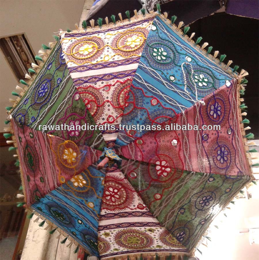Traditional cotton Sari material Handmade indian parasols,tribal indian bohemian Colorfull embroidered umbrella