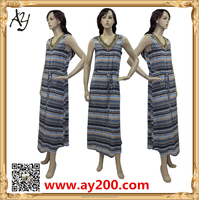 2016 New Design Arabic Stripe Exquisite Beading Long Summer Dress Kaftan