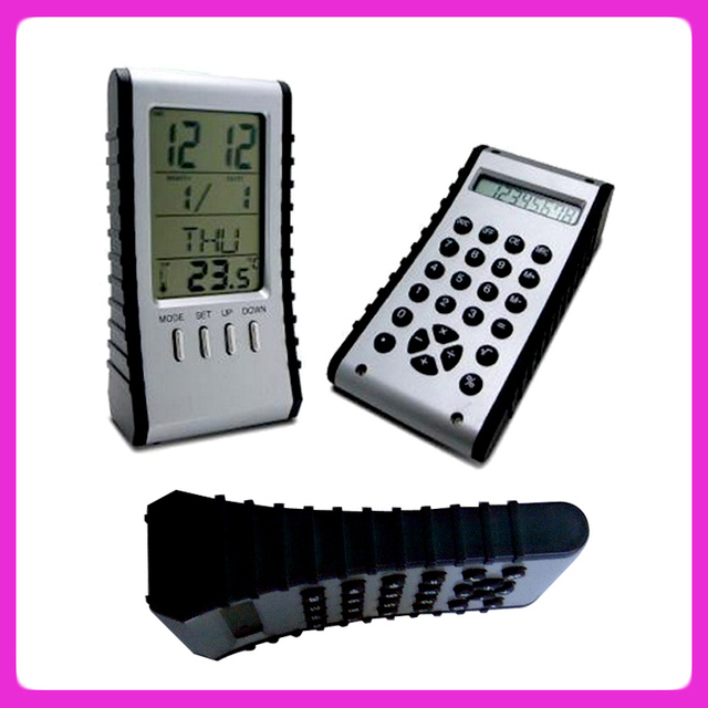 Desktop digital thermometer clock and electronic calculator