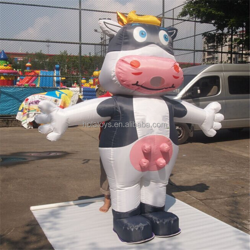 Hola black and white inflatable cow costume/inflatable costume
