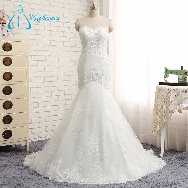 Sheer Neck Lace Mermaid Wedding Dress