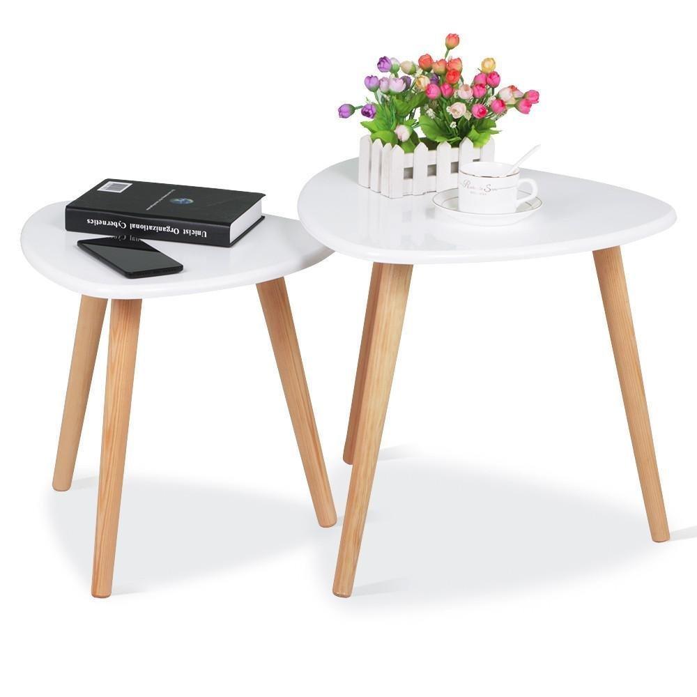White gloss wood nesting tables living room sofa side end table set of 2
