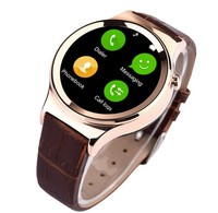 T3 Round wrist watch with SIM Card for smart mobile phone with pedometer,UV,QQ,Wechat,Facebook PU Band Stainless steel gold