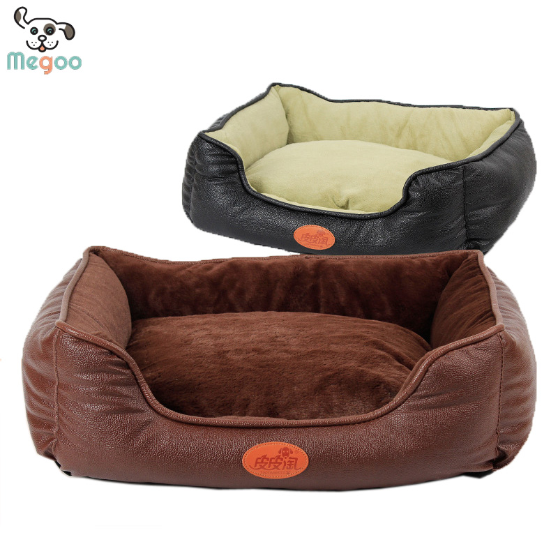 PU Leather Dog Bed Winter Pet Beds Detachable Puppy Cushion