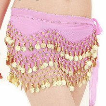 Wholesale ladies chiffon belly dance coin hip scarf,128 coins purple sexy belly dance belt