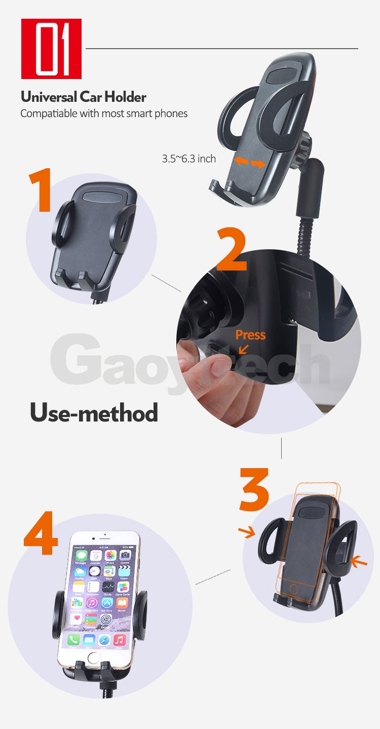 New product Support 4-6.3 inch smartphone fast charging car charging holder car mount with 2 USB charger