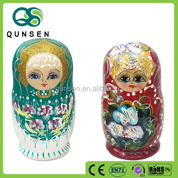 7 layers wooden nesting doll in customized design doll