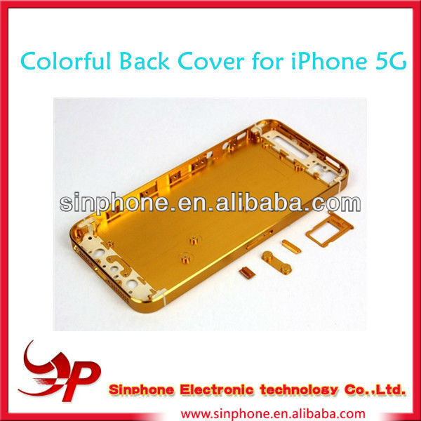 Original spare parts Gold Color Hard Metal Back Battery Housing Cover Case For iphone 5 5G