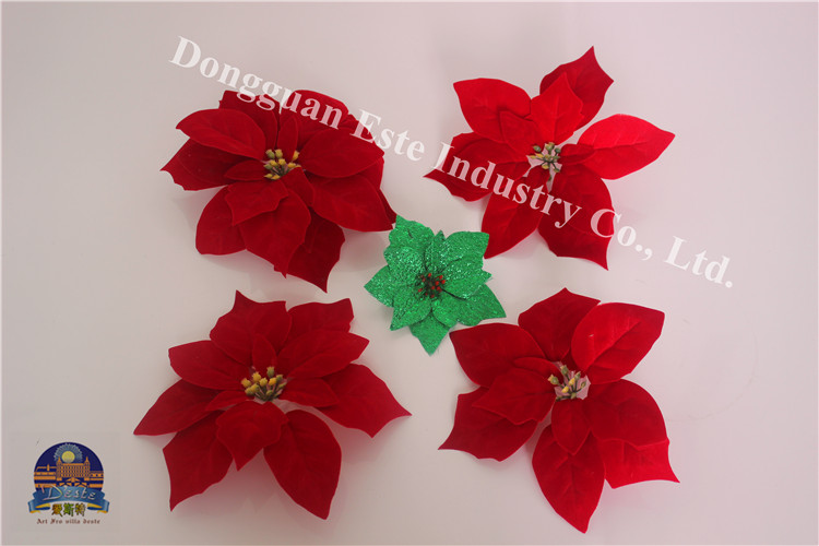 decoration velvet silk fabric Christmas use Xmas Santa ornament flower head