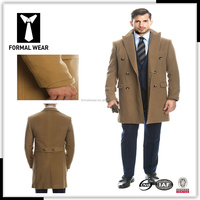New arriving Fashion design 100% cashmere double breasted six button 2 pockets dark camel cashmere winter coat