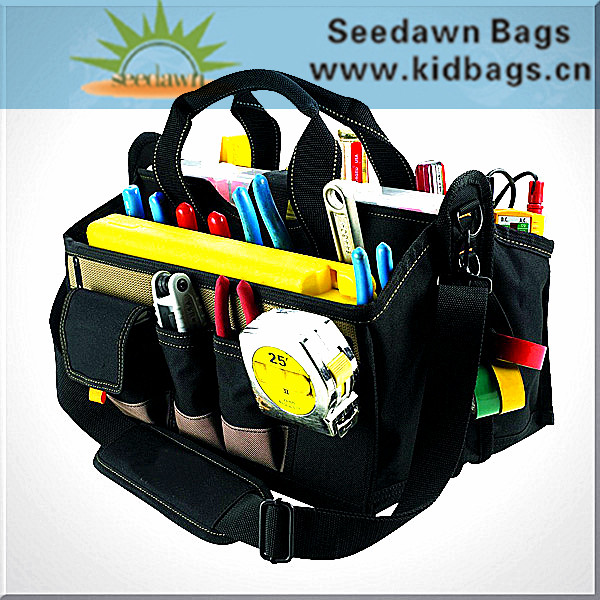 Basket Style Multiple Side Pocket Electrician's Tool Bag with Shoulder Strap Hand Carry Handles