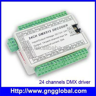 1A/channel x24 dimmable rgb led dmx decoder led driver