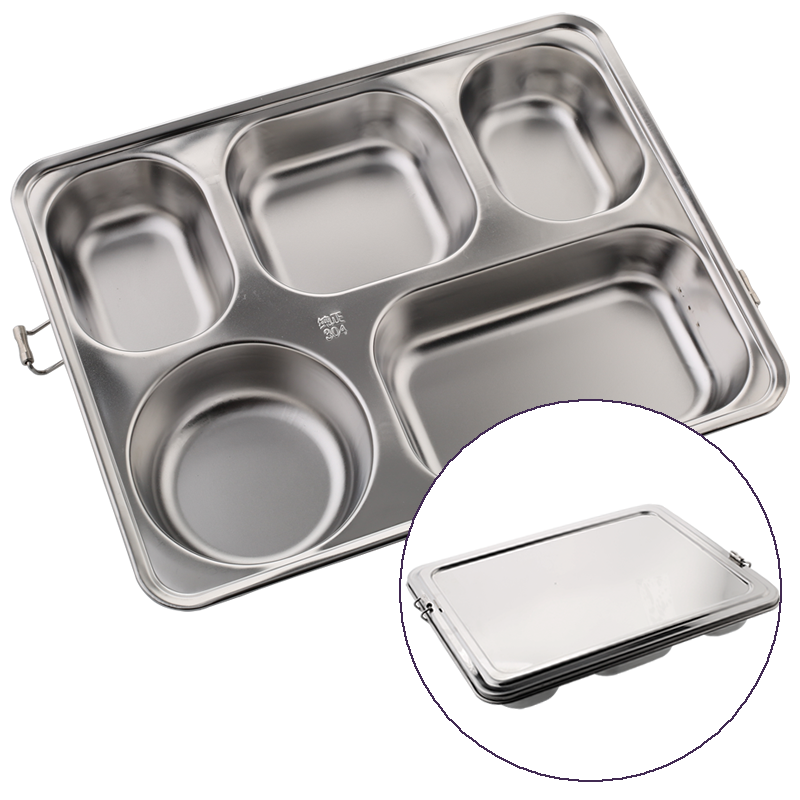 Stainless Steel Bento Lunch Box Set All in one Stylish Food Container For Adults Kids Divided Dinner Trays With Cover 1 Set 4