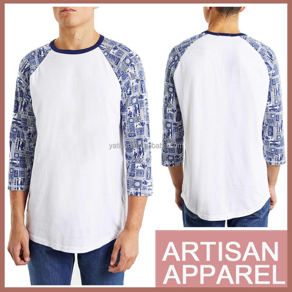Stamp Pattern Printing Raglan T Shirt Pure Cotton High