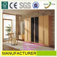 wooden grain color melamined MDF / chipboard 6 door wardrobe,2 color wardrobe,laminate wardrobe doors