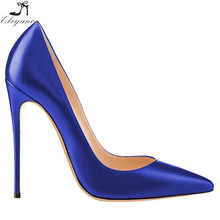 Pretty Women Pure Royal Blue PU Pointy Toe Pumps Pencil High Heels Ladies Dress Shoes Formal Occasion Custom Shoe Manufacturers