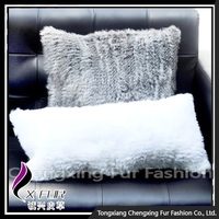 CX-D-78A Pure White Knitted Rabbit Fur Sofa Cushion Cover