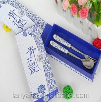 Wedding gift Stainless Steel Spoon Fork with porcelain handle