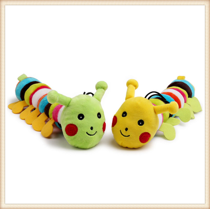 New Arrival Supply Squeaker Sound OEM Stuffed Soft Make Sound Caterpillar Cute Worm Plush Pet Toy