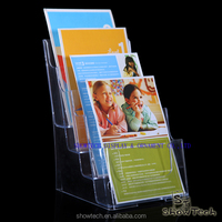 4-tiers concise plastic or acrylic brochure-literature-leaflet rack&display table top or wall mount ST-BHDL-4T K01