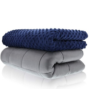 Soft 60x 80 inch minky sensory Ynm navy anxiety weighted blanket 15lbs for Adult
