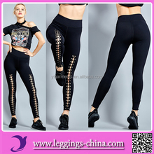 2017 Women Yoga Lace Up Not See Through Fitness Leggings