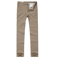 Showlands Men's Straight Elastic Waistband Casual Linen Trousers