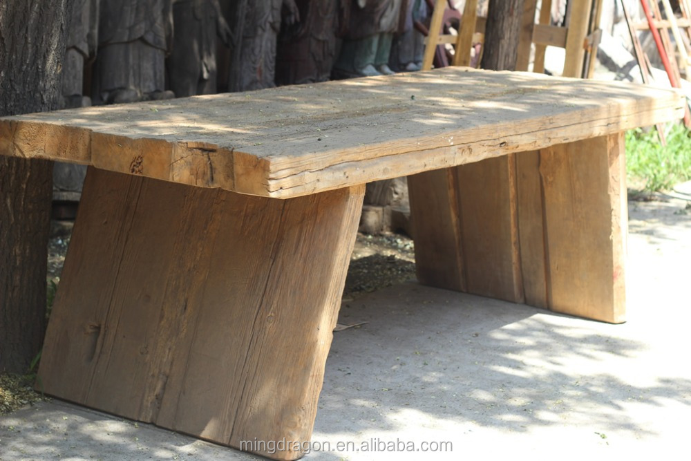 Chinese antique reclaimed wood rustic distressed natural dining table
